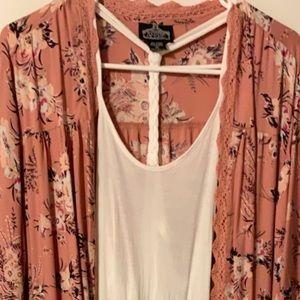 NWOT Long Kimono with Crocheted Trim